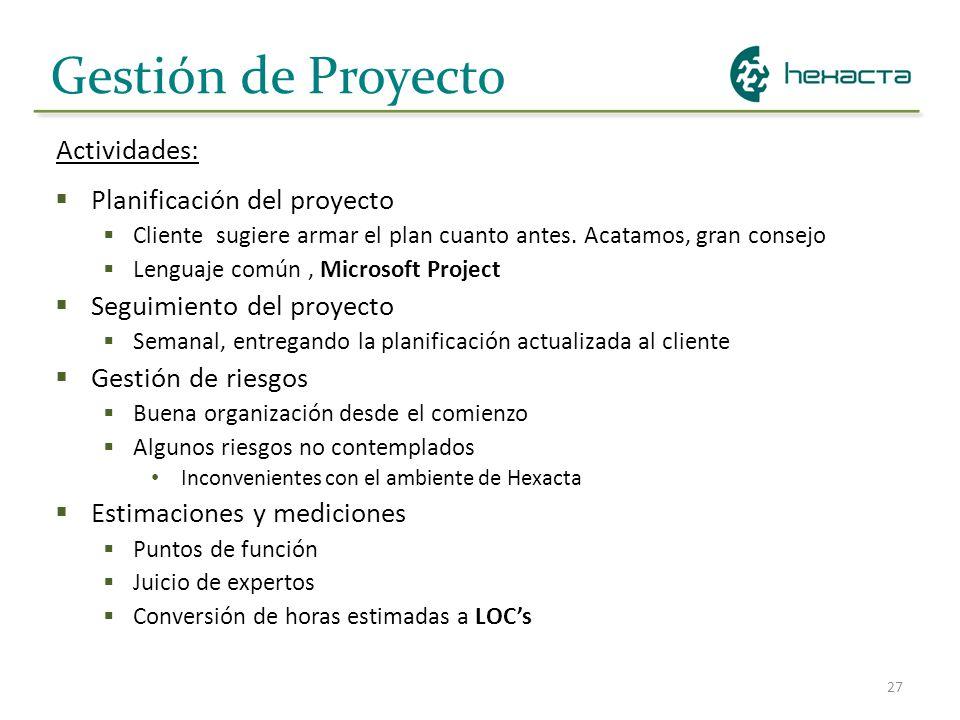 27 Gestión de Proyecto Planificación del proyecto Cliente sugiere armar el plan cuanto antes. Acatamos, gran consejo Lenguaje común, Microsoft Project
