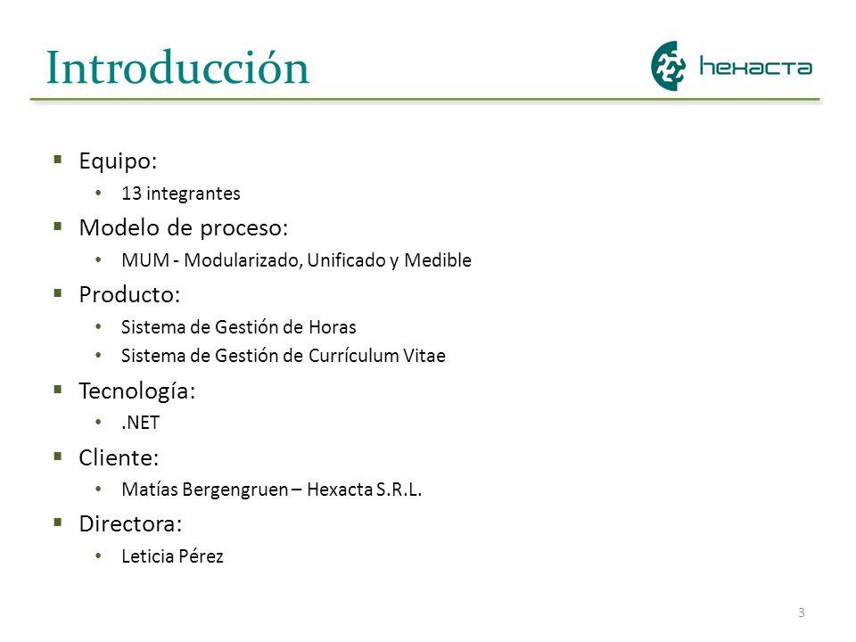 3 Introducción Equipo: 13 integrantes Modelo de proceso: MUM - Modularizado, Unificado y Medible Producto: Sistema de Gestión de Horas Sistema de Gest
