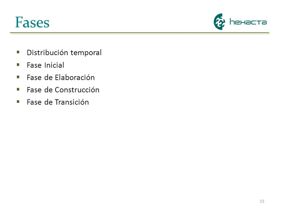 33 Fases Distribución temporal Fase Inicial Fase de Elaboración Fase de Construcción Fase de Transición