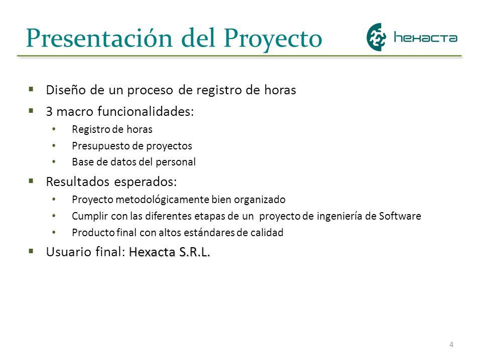 4 Presentación del Proyecto Diseño de un proceso de registro de horas 3 macro funcionalidades: Registro de horas Presupuesto de proyectos Base de dato