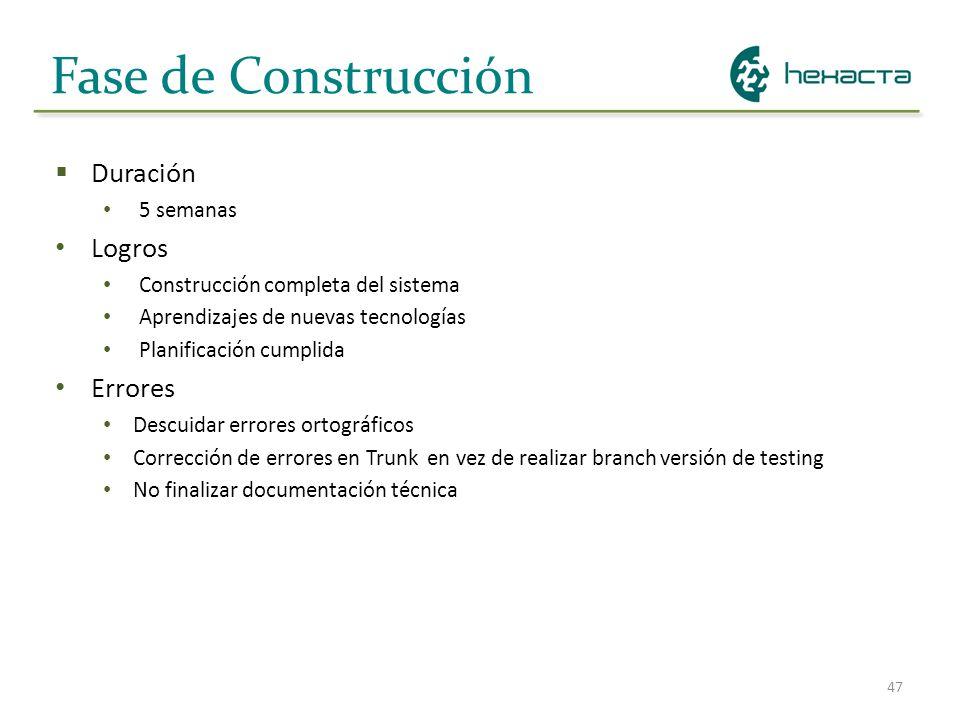 47 Fase de Construcción Duración 5 semanas Logros Construcción completa del sistema Aprendizajes de nuevas tecnologías Planificación cumplida Errores