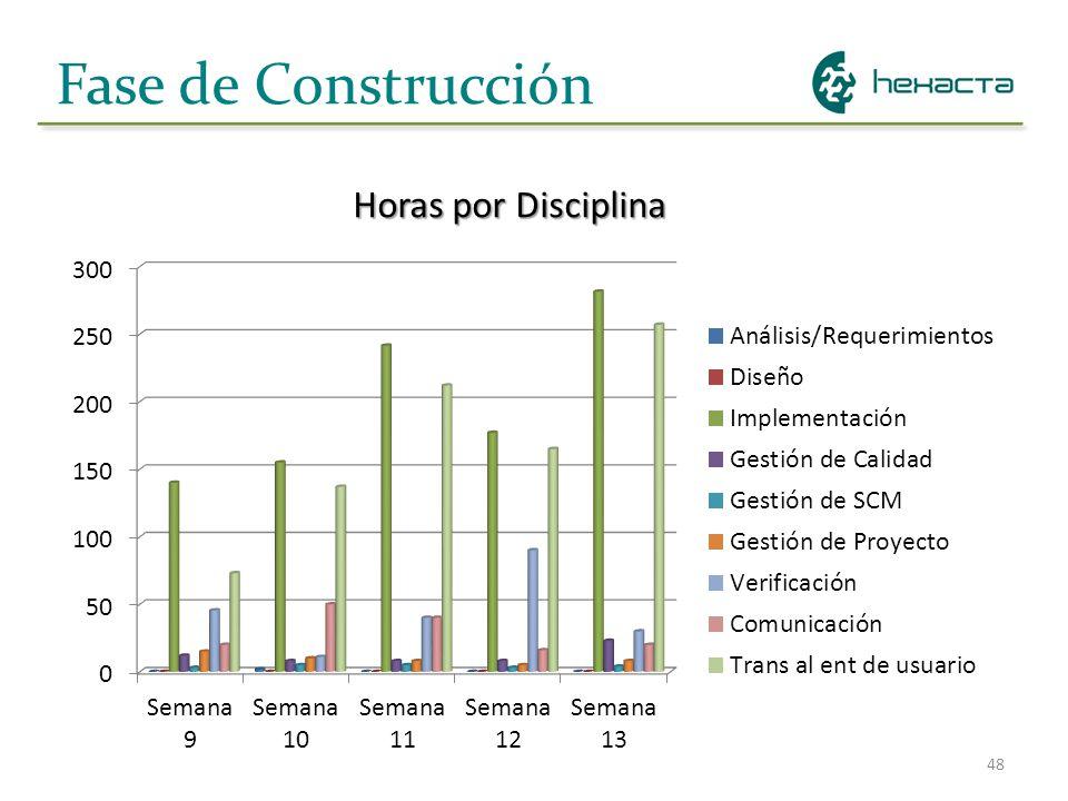48 Fase de Construcción Horas por Disciplina