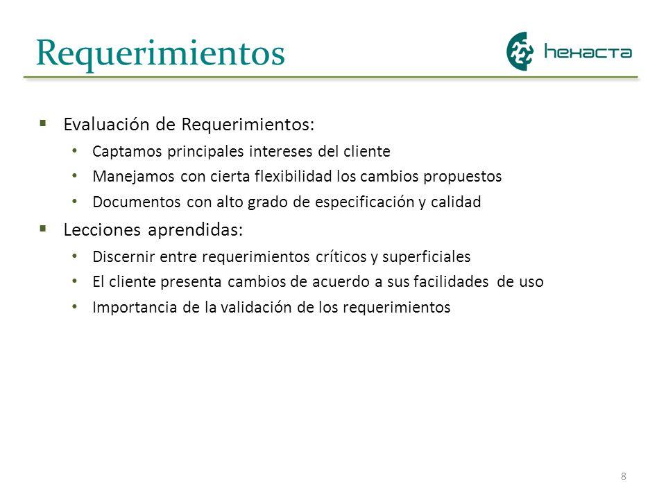 8 Requerimientos Evaluación de Requerimientos: Captamos principales intereses del cliente Manejamos con cierta flexibilidad los cambios propuestos Doc