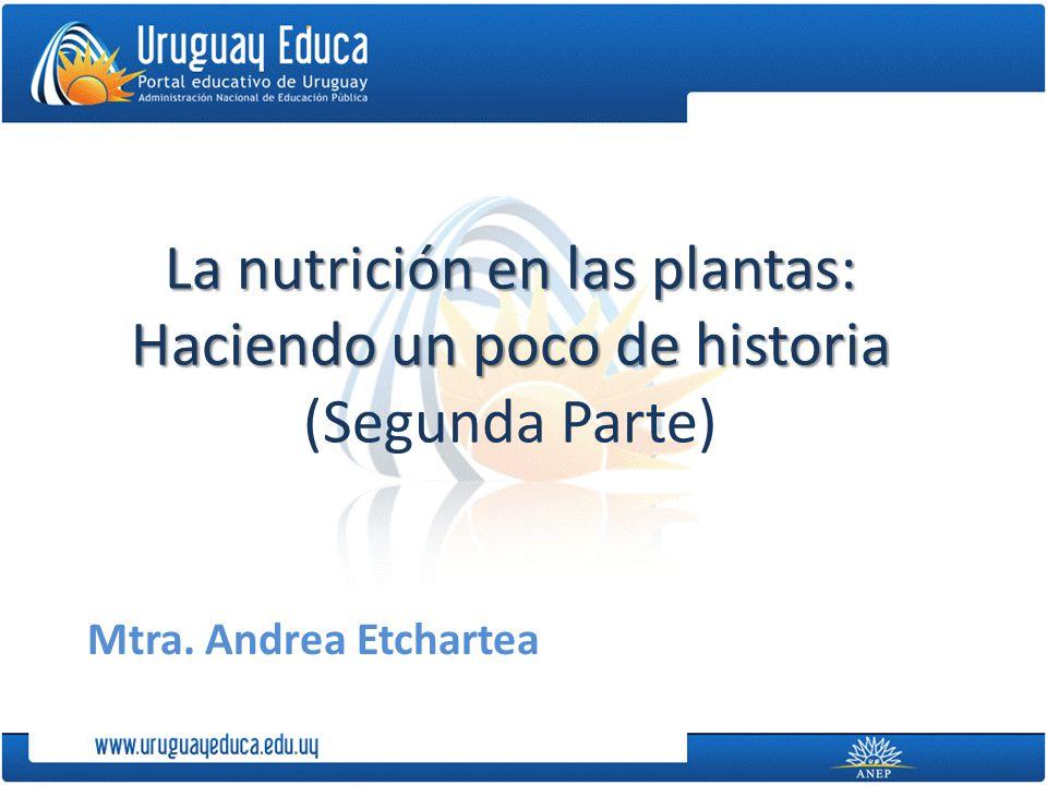 La nutrición en las plantas: Haciendo un poco de historia La nutrición en las plantas: Haciendo un poco de historia (Segunda Parte) Mtra.