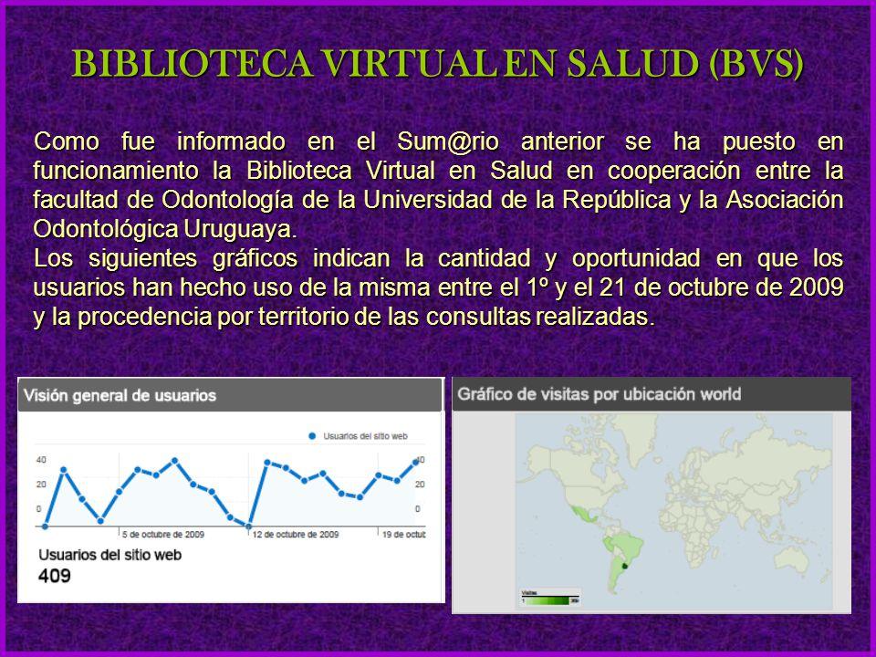 Como fue informado en el Sum@rio anterior se ha puesto en funcionamiento la Biblioteca Virtual en Salud en cooperación entre la facultad de Odontologí