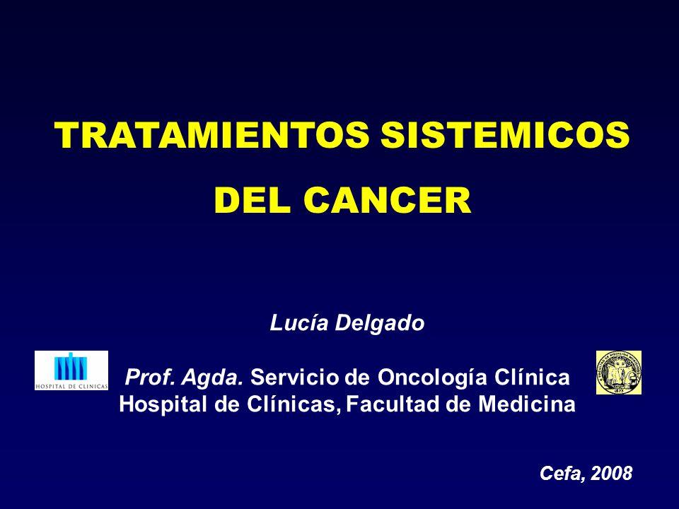 Lucía Delgado Prof. Agda. Servicio de Oncología Clínica Hospital de Clínicas, Facultad de Medicina TRATAMIENTOS SISTEMICOS DEL CANCER Cefa, 2008