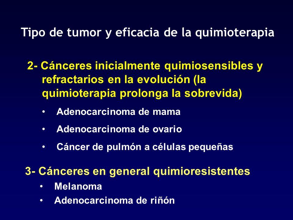 Tipo de tumor y eficacia de la quimioterapia 3- Cánceres en general quimioresistentes Melanoma Adenocarcinoma de riñón 2- Cánceres inicialmente quimio