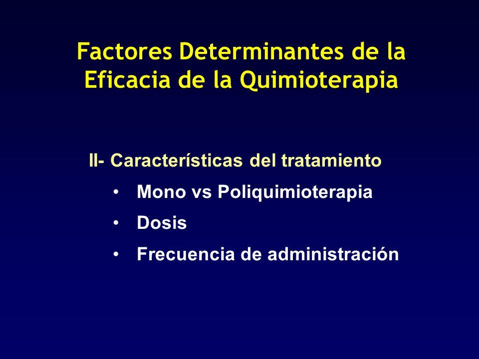 Factores Determinantes de la Eficacia de la Quimioterapia II- Características del tratamiento Mono vs Poliquimioterapia Dosis Frecuencia de administra