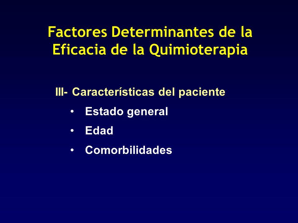 Factores Determinantes de la Eficacia de la Quimioterapia III- Características del paciente Estado general Edad Comorbilidades