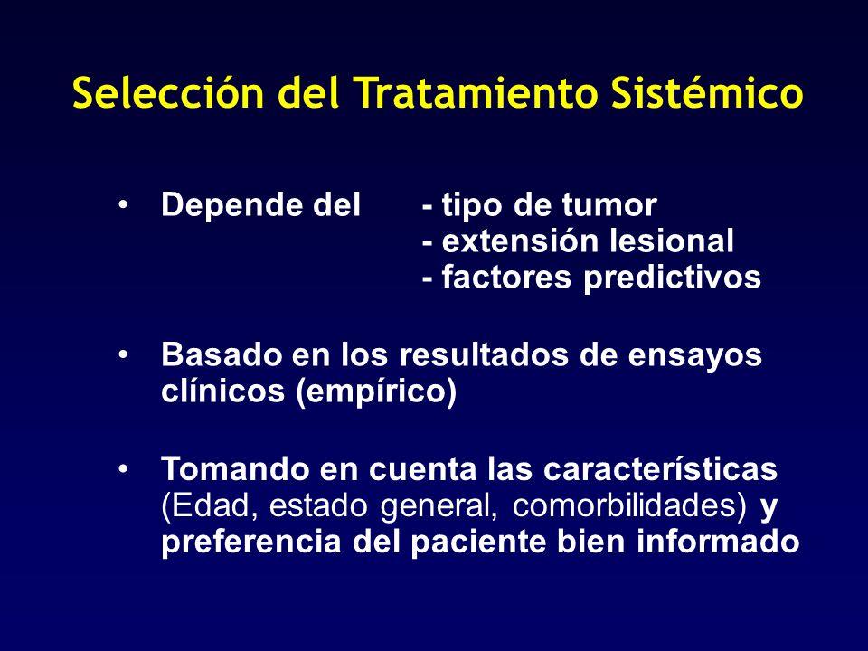 Selección del Tratamiento Sistémico Depende del - tipo de tumor - extensión lesional - factores predictivos Basado en los resultados de ensayos clínic