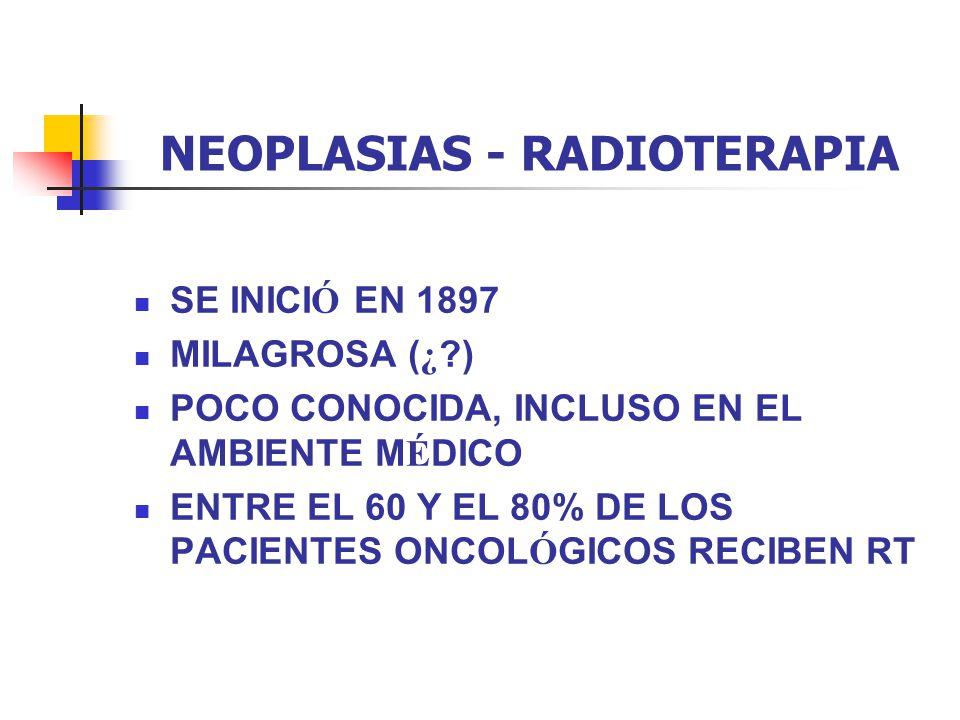 NEOPLASIAS - RADIOTERAPIA RESPUESTA DE Ó RGANOS Y TEJIDOS Respuesta aguda - grande 10 Gy predomina a dosis bajas Respuesta tard í a - peque ñ o 3 Gy influye a dosis m á s bajas que para los agudos