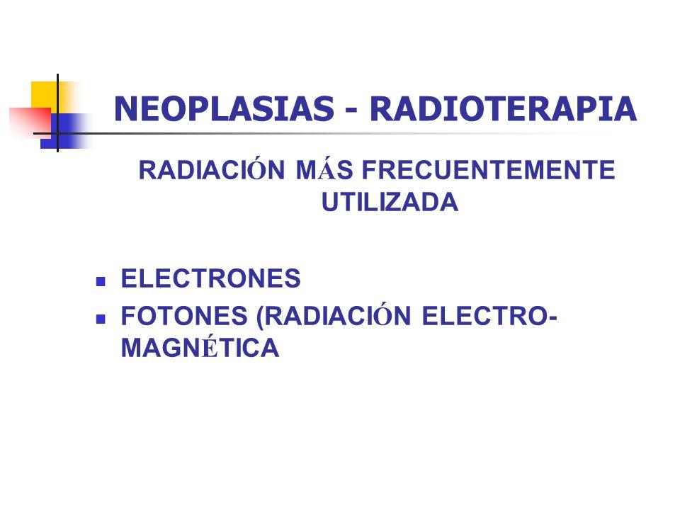 NEOPLASIAS - RADIOTERAPIA TIPOS DE BRAQUITERAPIA d) POR TASA DE DOSIS TIPO ICRU Gerbaulet LDR – BAJA TASA - 0.4 – 2 Gy/h10Gy/d í a MDR – MEDIA TASA - 2 – 12 Gy/h10 Gy/h HDR – ALTA TASA - >12 Gy/h10 Gy/m LDR es el golden standard de referencia MDR es poco usada.