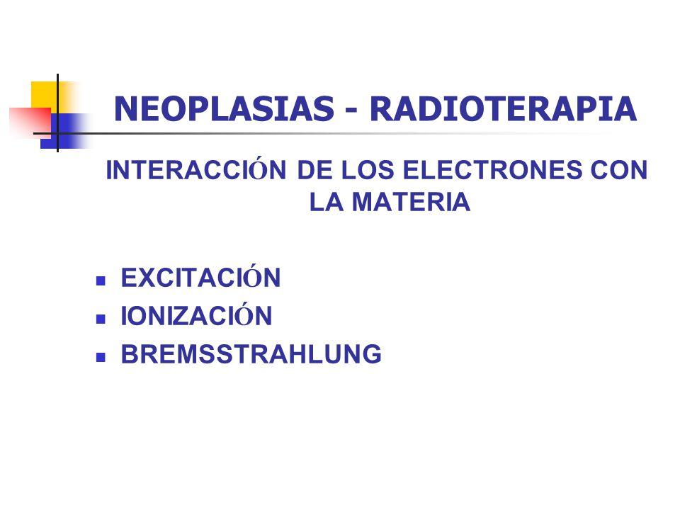 NEOPLASIAS - RADIOTERAPIA LOS DISTINTOS TIPOS DE RADIACIONES UTILIZADAS SON: FOTONES X FOTONES GAMMA ELECTRONES
