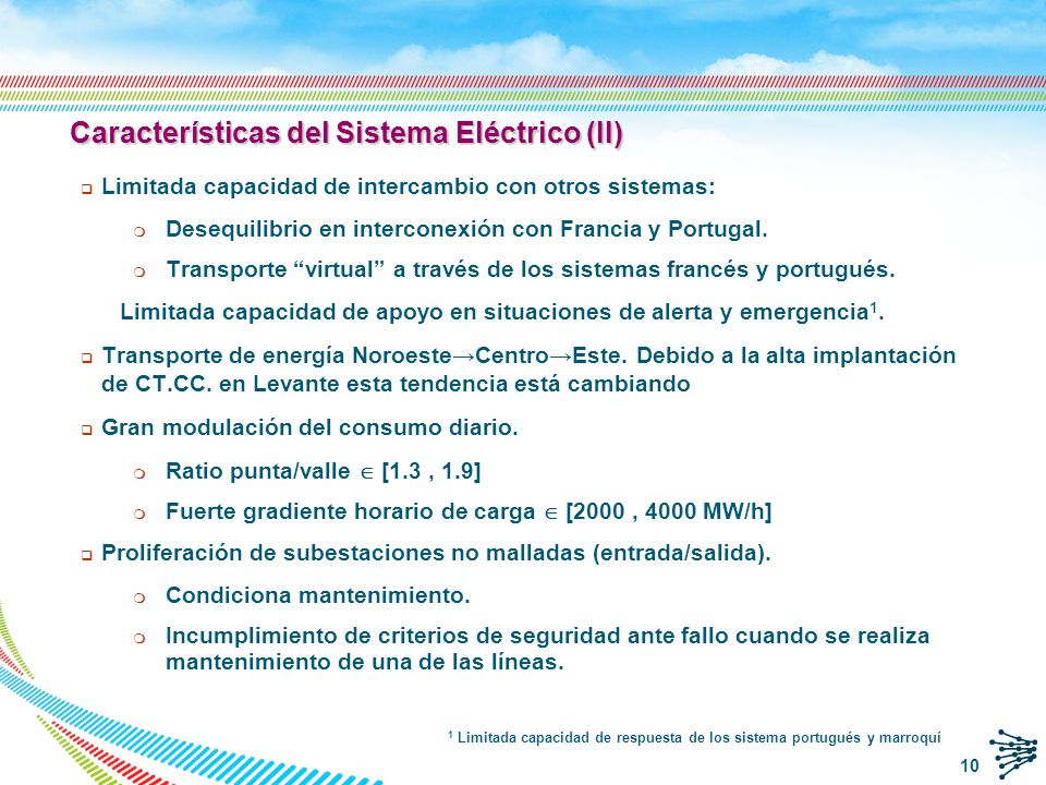Curva de la demanda Récord de demanda invierno Máximo diario 45.455 MW 18:50 h 17/12/2007 Récord de demanda verano Máximo diario 41.318 MW 13:26 h 19/07/2010 Puntas de demanda de 45 GW y valles de 19-25 GW 11