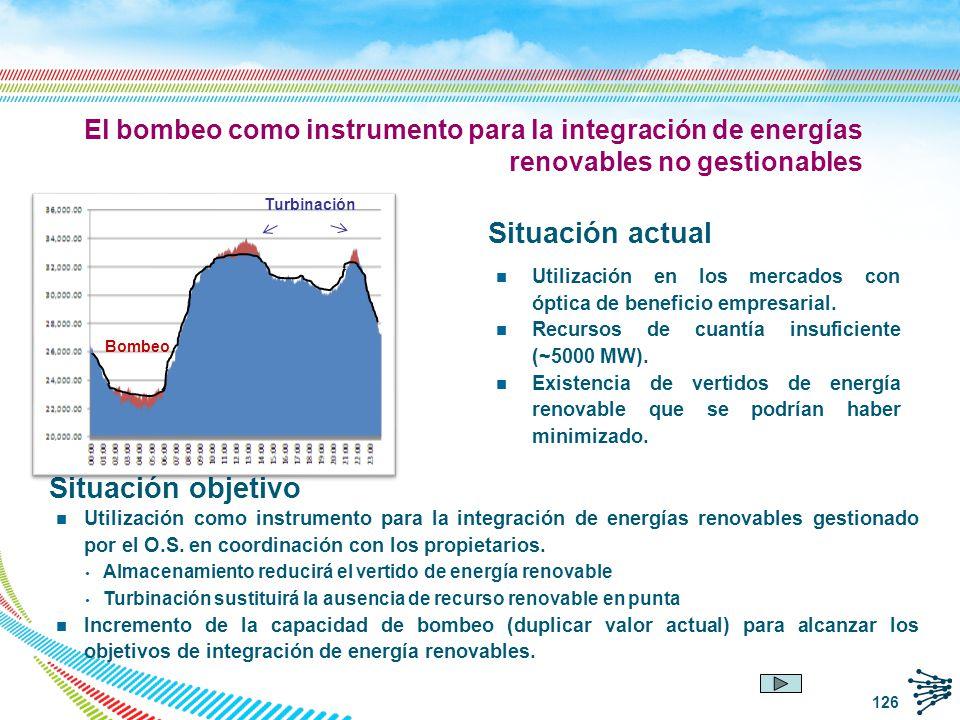 El bombeo como instrumento para la integración de energías renovables no gestionables Situación actual n Utilización en los mercados con óptica de ben