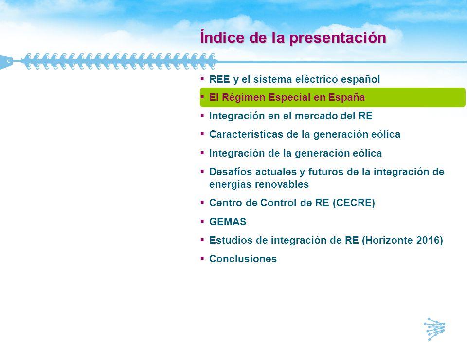 Índice de la presentación REE y el sistema eléctrico español El Régimen Especial en España Integración en el mercado del RE Características de la gene
