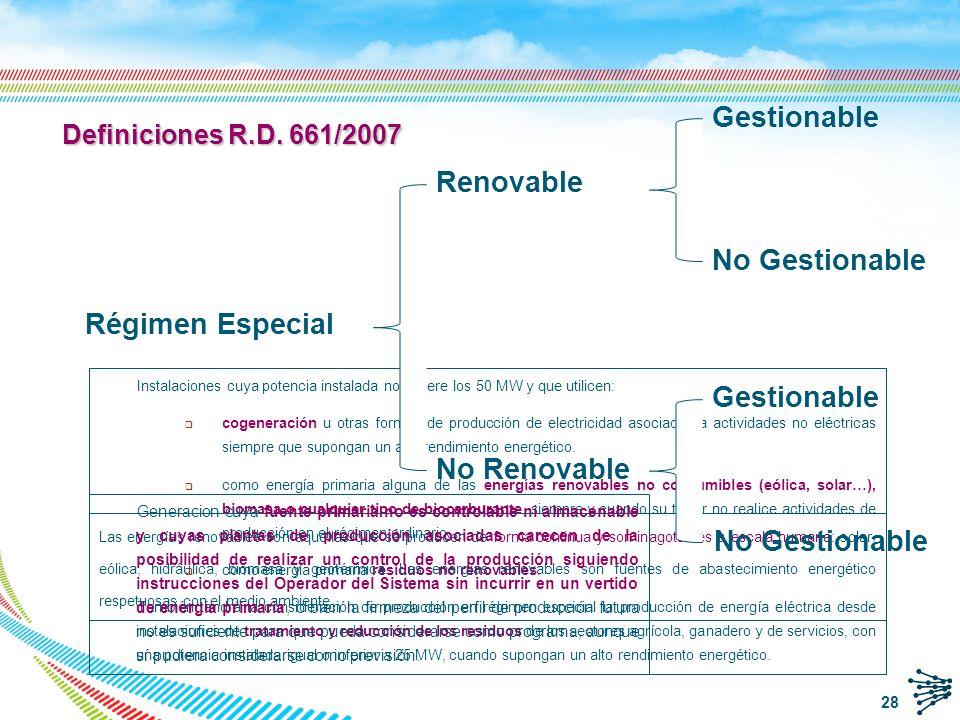 77.47 /MWh 75.40 /MWh 89.87 /MWh 46.48 / MWh 89.87 /MWh Regulado: Opción 24 a) Tarifa fija regulada 77.47/MWh para la eólica en 2010 Mercado : Opción 24 b) Participación en el mercado diario e intradiario.