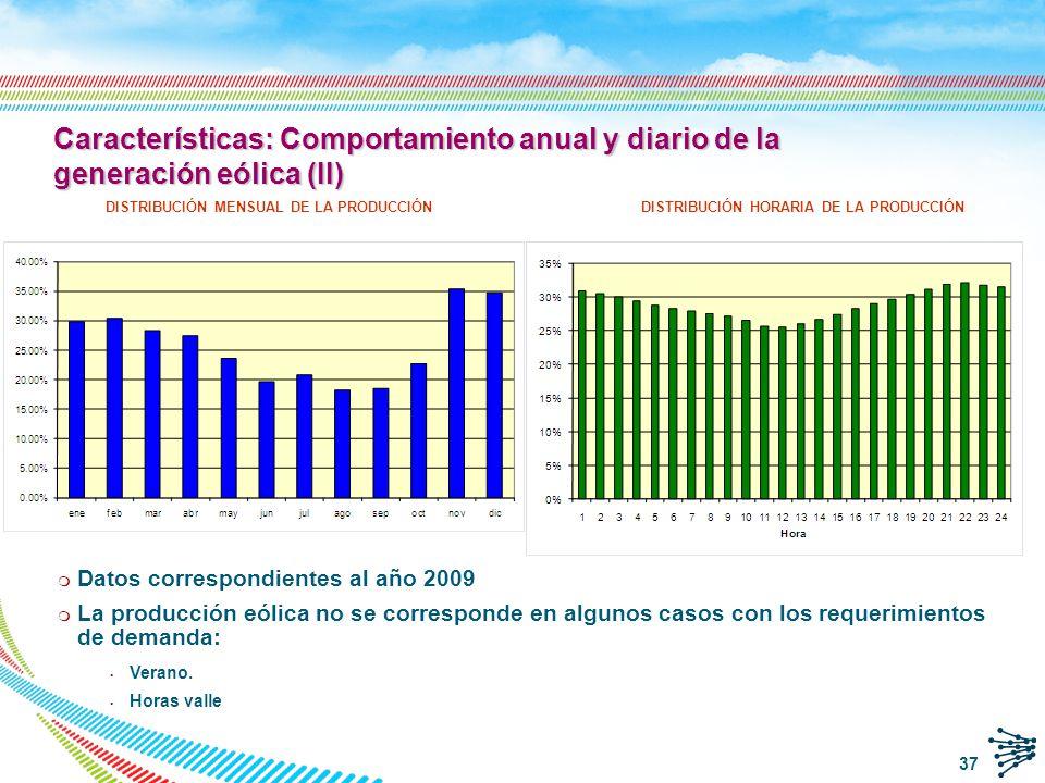 38 q Tecnología de los aerogeneradores m Disparo de los aerogeneradores para rachas de viento superiores a 25 m/s.