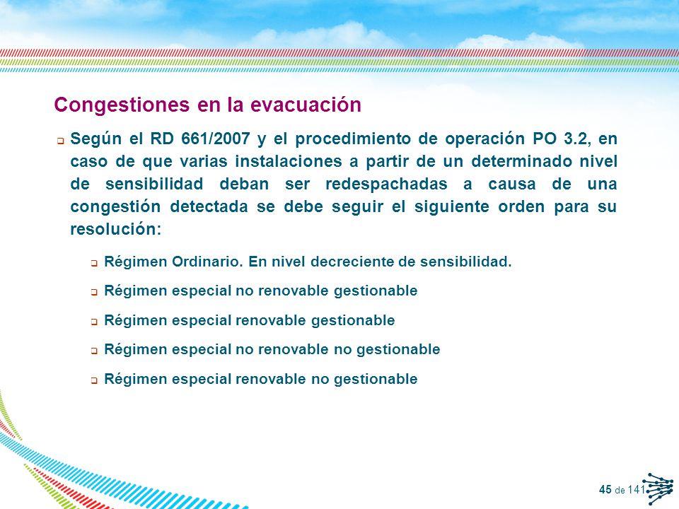 46 de 141 Reducciones de eólica en tiempo real (II) Los gestores de la RdD puede solicitar limitaciones de producción del régimen especial, vía Operador del Sistema, para resolver congestiones en su red.