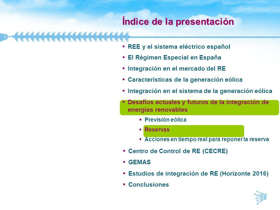 Influencia de la generación en las reservas del sistema TipoInfluencia del viento en la reservaDefinicion Regulación PrimariaNo influenciada por la eólica Acción de los reguladores de velocidad de las unidades de generación ante cambios en la frecuencia del sistema.