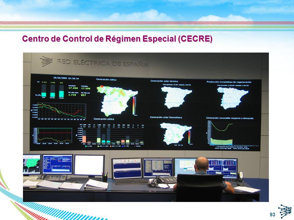 CECRE: esquema funcional El CECRE es un centro de control dedicado a la generación de régimen especial y especialmente, a la generación eólica: Integrado en la estructura de control de REE Comunicación con los Centros de Control de generación para supervisión y control de instrucciones.