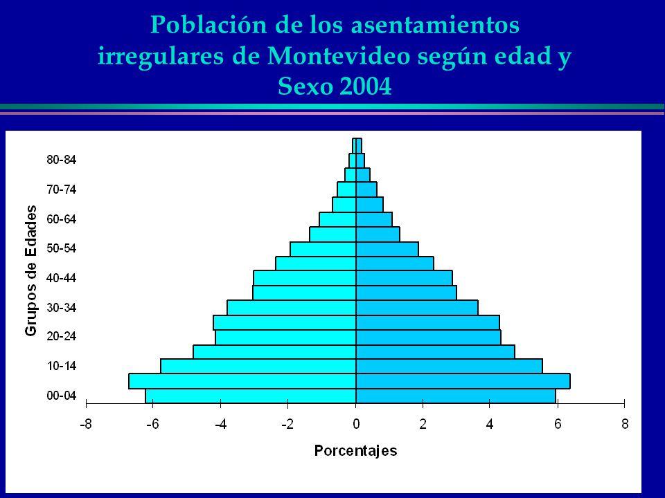 Población de los asentamientos irregulares de Montevideo según edad y Sexo 2004