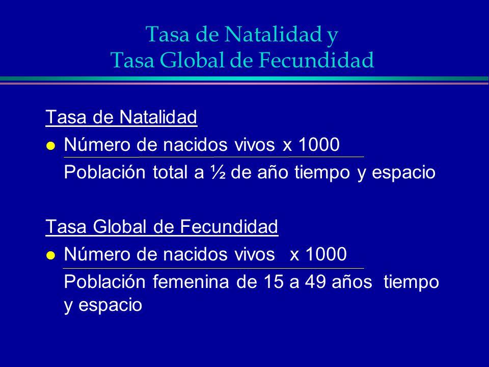 Tasa de Natalidad y Tasa Global de Fecundidad Tasa de Natalidad l Número de nacidos vivos x 1000 Población total a ½ de año tiempo y espacio Tasa Glob