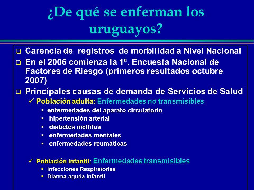 ¿De qué se enferman los uruguayos? Carencia de registros de morbilidad a Nivel Nacional En el 2006 comienza la 1ª. Encuesta Nacional de Factores de Ri
