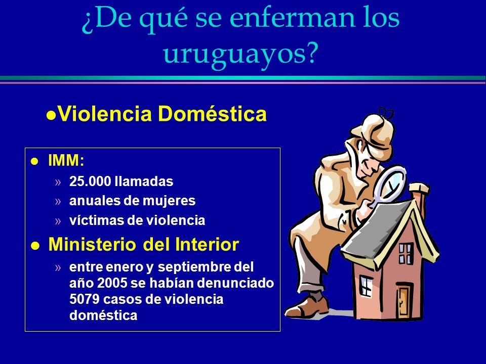 ¿De qué se enferman los uruguayos? l IMM: »25.000 llamadas »anuales de mujeres »víctimas de violencia l Ministerio del Interior »entre enero y septiem