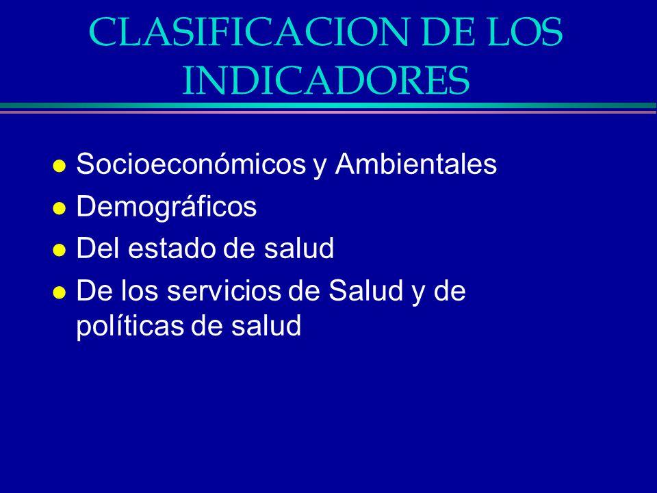 CLASIFICACION DE LOS INDICADORES l Socioeconómicos y Ambientales l Demográficos l Del estado de salud l De los servicios de Salud y de políticas de sa