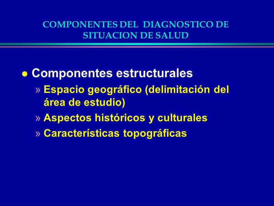 COMPONENTES DEL DIAGNOSTICO DE SITUACION DE SALUD l Componentes estructurales »Espacio geográfico (delimitación del área de estudio) »Aspectos históri