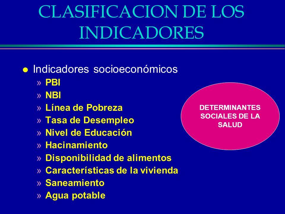CLASIFICACION DE LOS INDICADORES l Indicadores socioeconómicos »PBI »NBI »Línea de Pobreza »Tasa de Desempleo »Nivel de Educación »Hacinamiento »Dispo