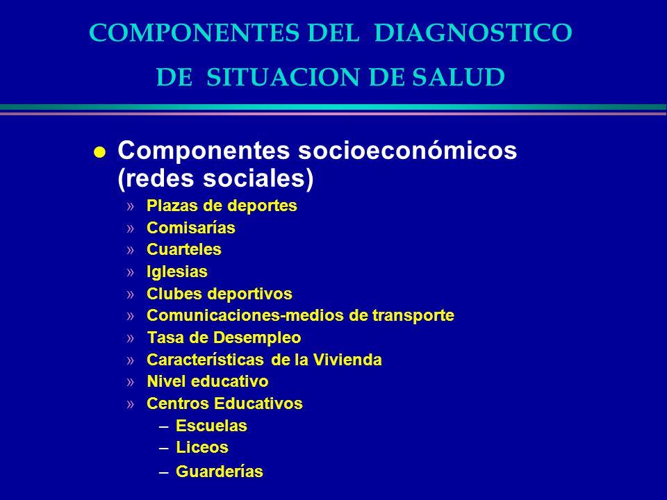 COMPONENTES DEL DIAGNOSTICO DE SITUACION DE SALUD l Componentes socioeconómicos (redes sociales) »Plazas de deportes »Comisarías »Cuarteles »Iglesias