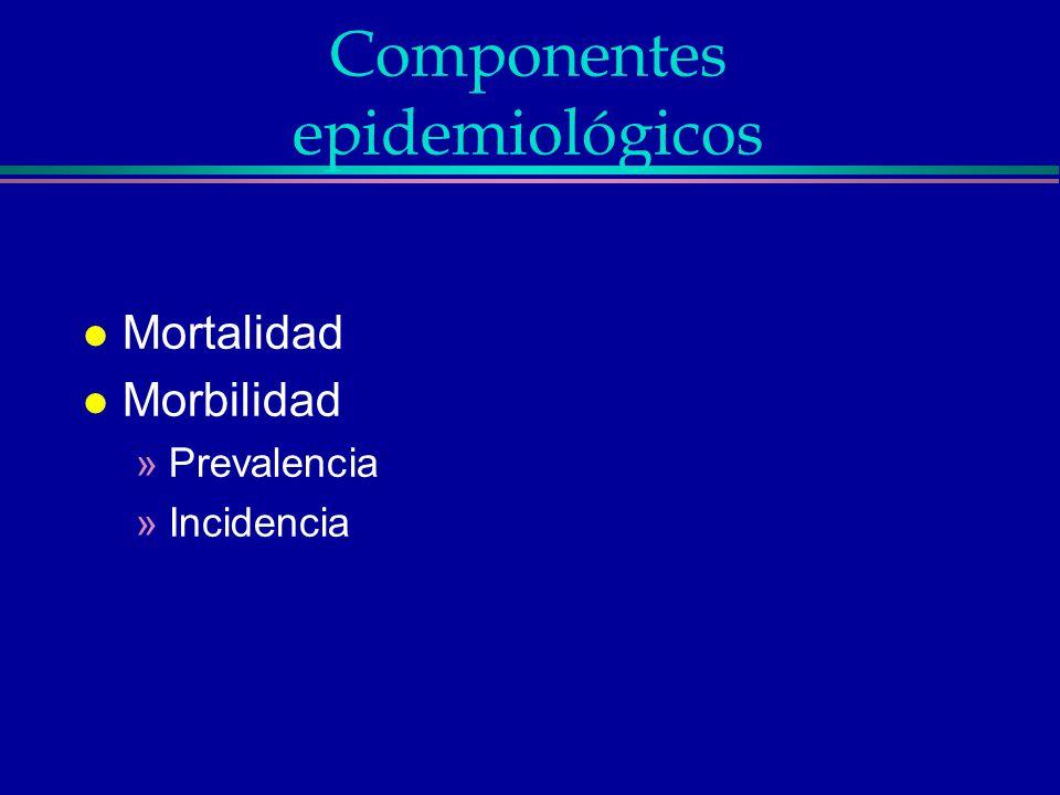 Componentes epidemiológicos l Mortalidad l Morbilidad »Prevalencia »Incidencia