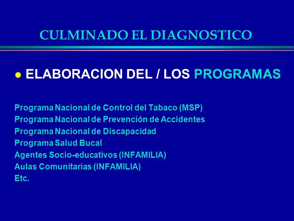 CULMINADO EL DIAGNOSTICO l ELABORACION DEL / LOS PROGRAMAS Programa Nacional de Control del Tabaco (MSP) Programa Nacional de Prevención de Accidentes