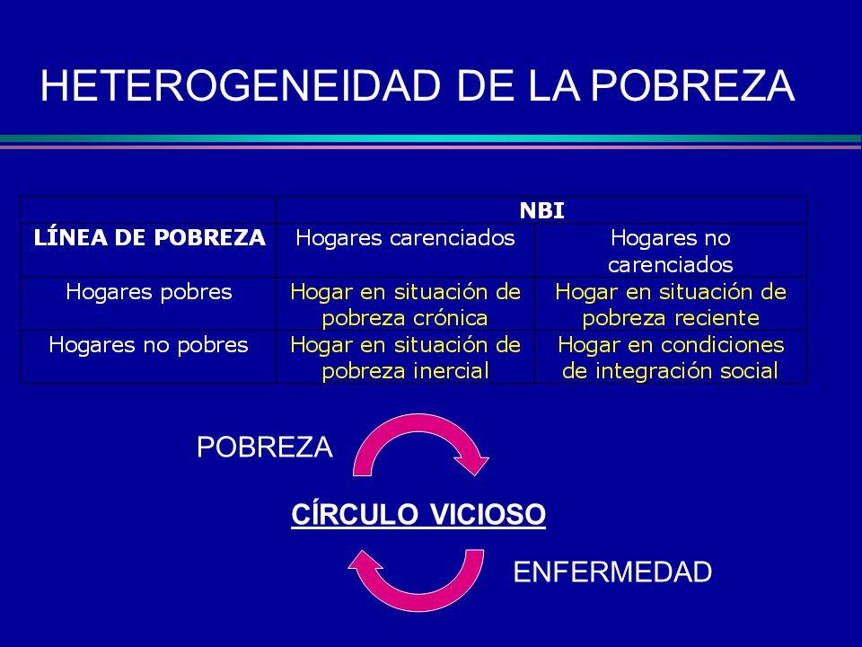 HETEROGENEIDAD DE LA POBREZA CÍRCULO VICIOSO POBREZA ENFERMEDAD