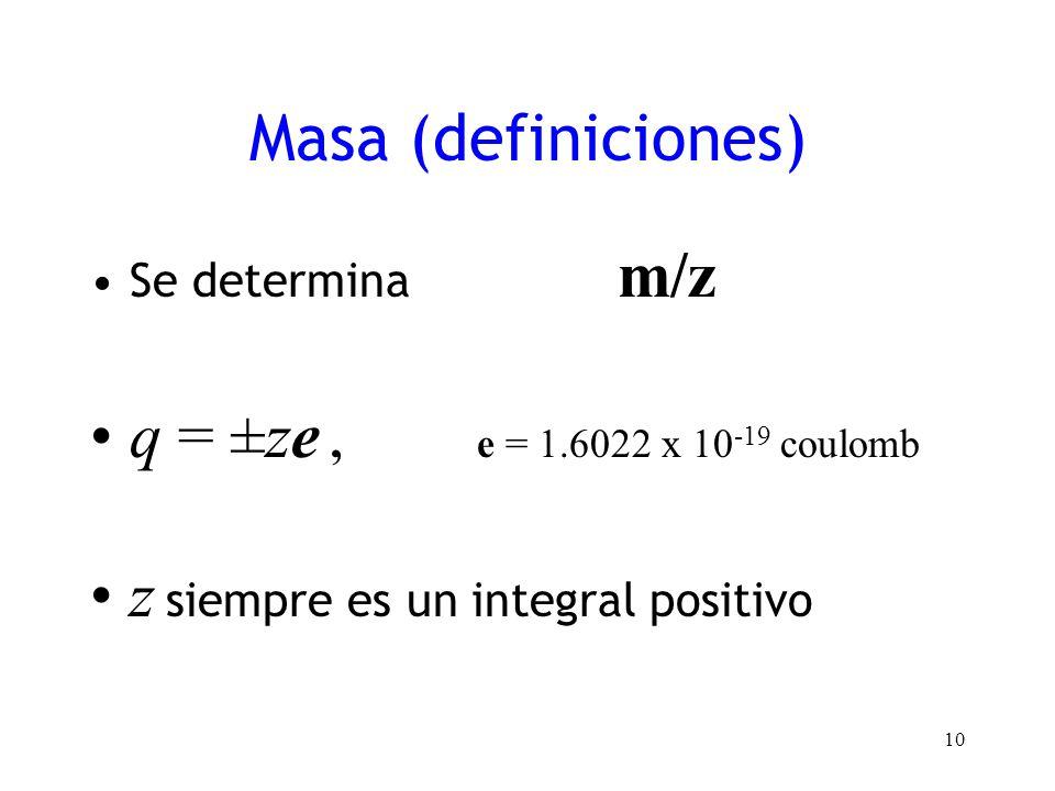 Masa (definiciones) Se determina m/z q = ±ze, e = 1.6022 x 10 -19 coulomb z siempre es un integral positivo 10