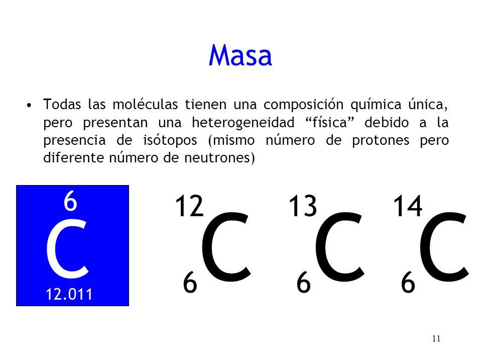 Masa Todas las moléculas tienen una composición química única, pero presentan una heterogeneidad física debido a la presencia de isótopos (mismo númer