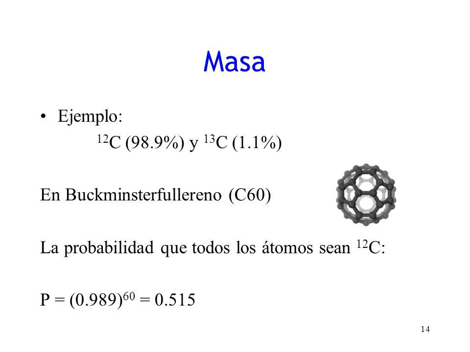 Ejemplo: 12 C (98.9%) y 13 C (1.1%) En Buckminsterfullereno (C60) La probabilidad que todos los átomos sean 12 C: P = (0.989) 60 = 0.515 14 Masa