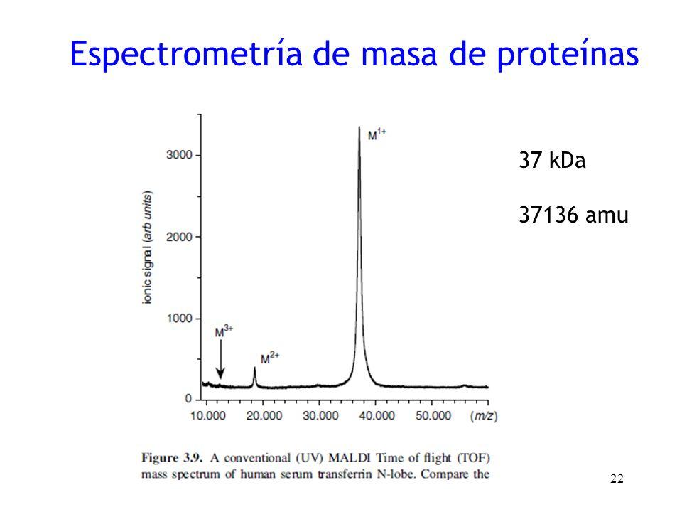 22 Espectrometría de masa de proteínas 37 kDa 37136 amu