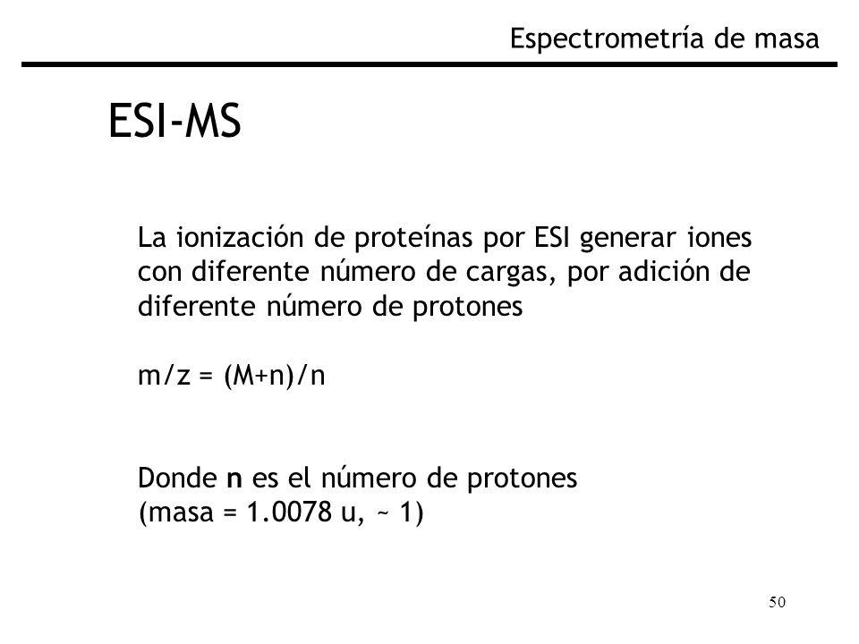 50 ESI-MS Espectrometría de masa La ionización de proteínas por ESI generar iones con diferente número de cargas, por adición de diferente número de p