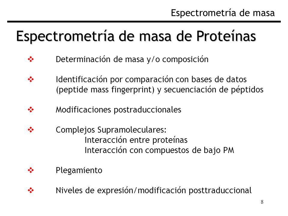 8 Espectrometría de masa Determinación de masa y/o composición Identificación por comparación con bases de datos (peptide mass fingerprint) y secuenci