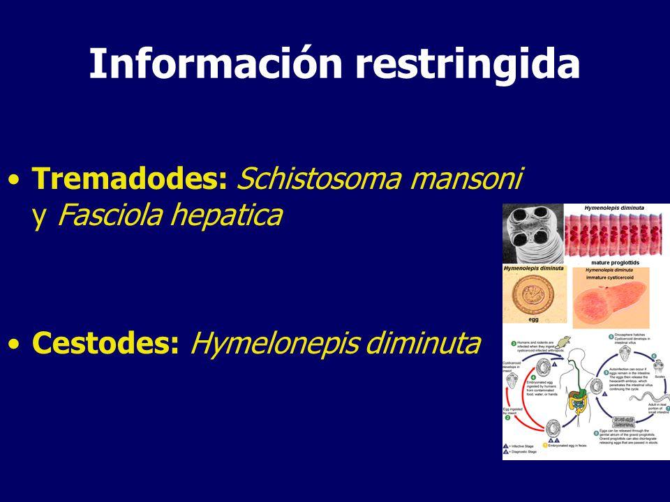 Información restringida Tremadodes: Schistosoma mansoni y Fasciola hepatica Cestodes: Hymelonepis diminuta