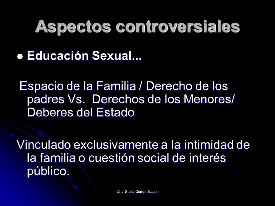 Dra. Stella Cerruti Basso Aspectos controversiales Educación Sexual... Educación Sexual... Espacio de la Familia / Derecho de los padres Vs. Derechos