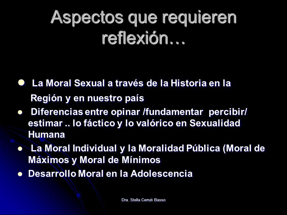 Dra. Stella Cerruti Basso Aspectos que requieren reflexión… La Moral Sexual a través de la Historia en la La Moral Sexual a través de la Historia en l