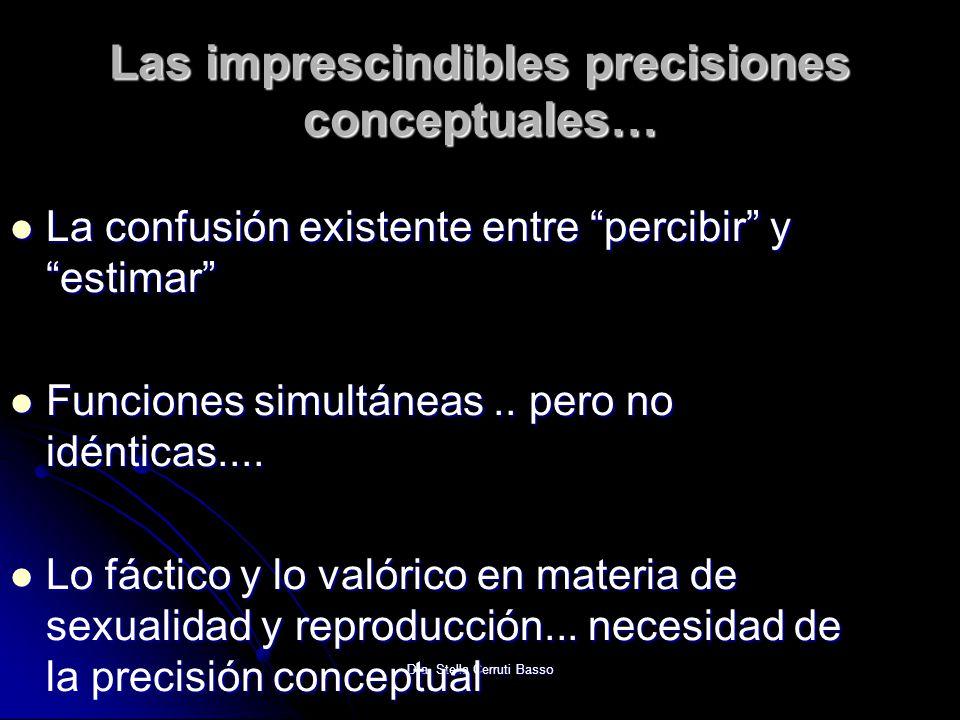 Dra. Stella Cerruti Basso Las imprescindibles precisiones conceptuales… La confusión existente entre percibir y estimar La confusión existente entre p