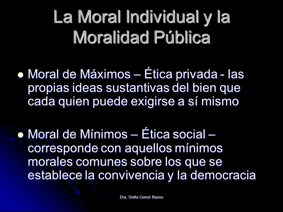 Dra. Stella Cerruti Basso La Moral Individual y la Moralidad Pública Moral de Máximos – Ética privada - las propias ideas sustantivas del bien que cad