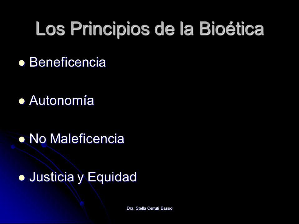 Dra. Stella Cerruti Basso Los Principios de la Bioética Beneficencia Beneficencia Autonomía Autonomía No Maleficencia No Maleficencia Justicia y Equid