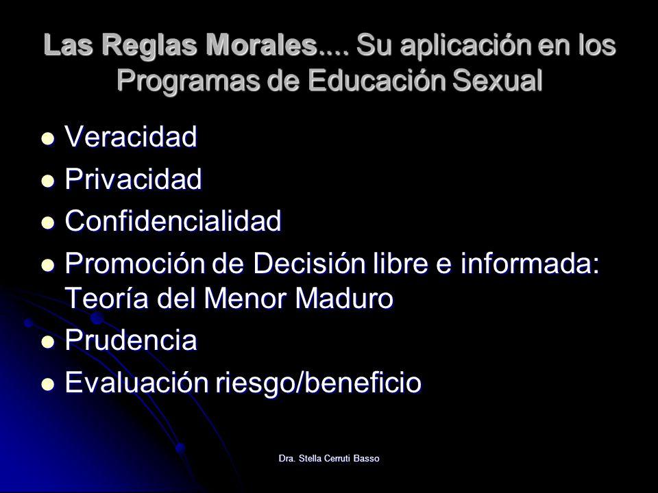 Dra. Stella Cerruti Basso Las Reglas Morales.... Su aplicación en los Programas de Educación Sexual Veracidad Veracidad Privacidad Privacidad Confiden