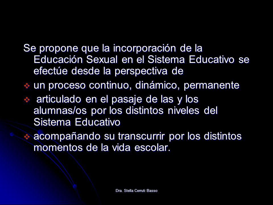 Dra. Stella Cerruti Basso Se propone que la incorporación de la Educación Sexual en el Sistema Educativo se efectúe desde la perspectiva de un proceso